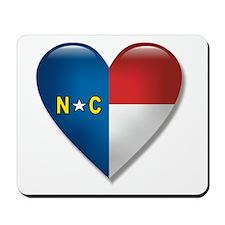 Love North Carolina Flag Heart Mousepad