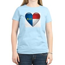 Love North Carolina Flag Heart T-Shirt