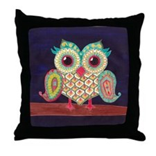Midnight Eastern Owl Throw Pillow