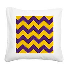 Purple and Gold chevron Square Canvas Pillow