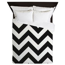 True Black and White Chevron Queen Duvet