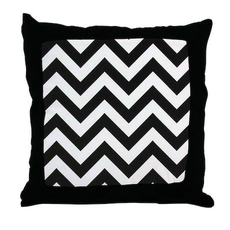 Black And White Chevron Throw Pillows : True Black and White Chevron Throw Pillow by chevroncitystripes
