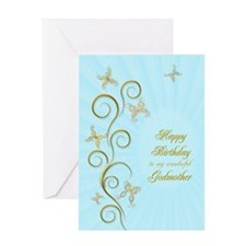 Godmother birthday card with golden butterflies Gr