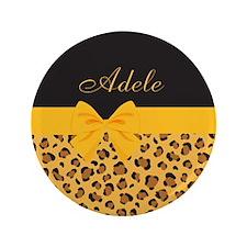 "Yellow Bow Animal Print Pattern 3.5"" Button"