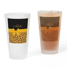 Yellow Bow Animal Print Pattern Drinking Glass