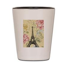 floral paris eiffel tower Shot Glass