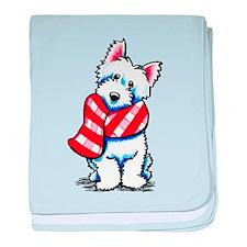 Westie Plaid Scarf baby blanket