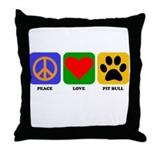 Peace Love Pit Bull Throw Pillow