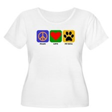 Peace Love Pit Bull Plus Size T-Shirt