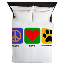 Peace Love Goldendoodle Queen Duvet