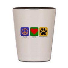 Peace Love Goldendoodle Shot Glass