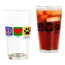 Peace Love Golden Retriever Drinking Glass