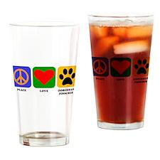 Peace Love Doberman Pinscher Drinking Glass