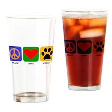 Peace Love Corgi Drinking Glass