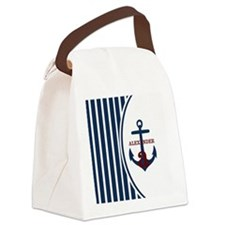 Anchor and Stripes Monogram Canvas Lunch Bag