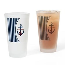 Anchor and Stripes Monogram Drinking Glass