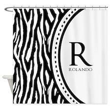 Trendy Animal Print Monogram Shower Curtain