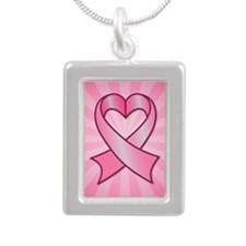 Breast Cancer Heart Ribbon Necklaces