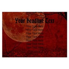 CUSTOM TEXT Red Moon Invitations
