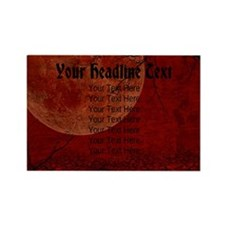 CUSTOM TEXT Red Moon Rectangle Magnet