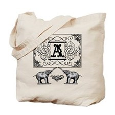 Letter A Ornate Circus Elephants Monogram Tote Bag