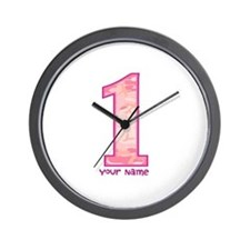 1st Birthday Personalized Pink Camo Wall Clock