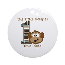 1st Birthday Monkey Personalized Ornament (Round)