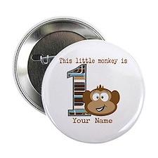 "1st Birthday Monkey Personalized 2.25"" Button"