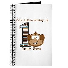 1st Birthday Monkey Personalized Journal
