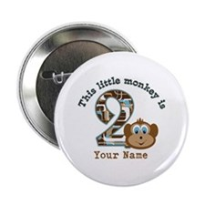 "2nd Birthday Monkey Personalized 2.25"" Button (100"