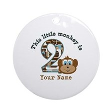 2nd Birthday Monkey Personalized Ornament (Round)
