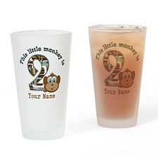 2nd Birthday Monkey Personalized Drinking Glass