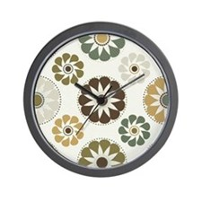 Retro Mod Floral Wall Clock