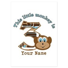 3rd Monkey Birthday Personalized Invitations