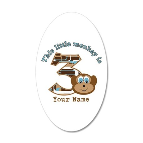 3rd Monkey Birthday Personalized 35x21 Oval Wall D