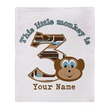 3rd Monkey Birthday Personalized Throw Blanket