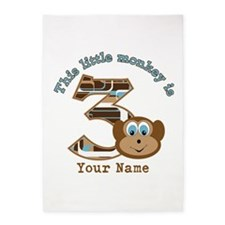 3rd Monkey Birthday Personalized 5'x7'Area Rug