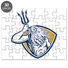 Neptune Poseidon Trident Shield Retro Puzzle