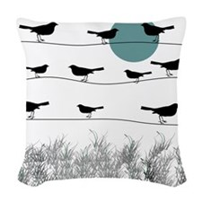 Birds On A Wire 3 Woven Throw Pillow