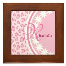 Stylish Pink and White Monogram Framed Tile