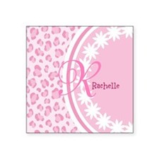 Stylish Pink and White Monogram Square Sticker 3""
