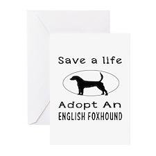 Adopt An English Foxhound Dog Greeting Cards (Pk o