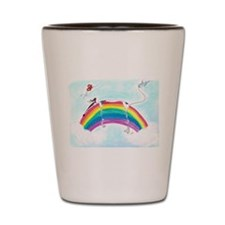 Sighthound over a Rainbow Shot Glass