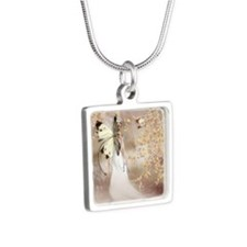 Fantasy Fairy Imbolc Spirit Silver Square Necklace