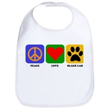 Peace Love Black Lab Bib