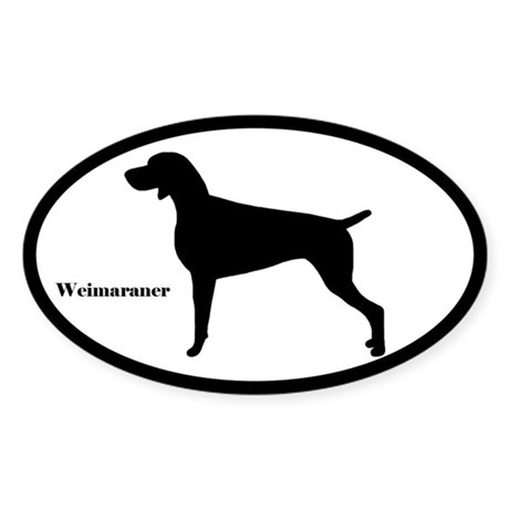 Dog Gifts > Dog Bumper Stickers > Weimaraner Silhouette Oval Sticker