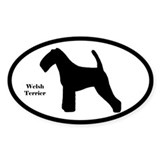 Welsh Terrier Silhouette Oval Decal