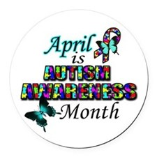 April Autism Awareness Round Car Magnet