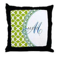 Blue Lime Monogram Throw Pillow