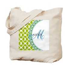 Blue Lime Monogram Tote Bag
